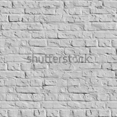 Fotomural Antigua muralla de ladrillo blanco. Textura Enlosables sin fisuras.
