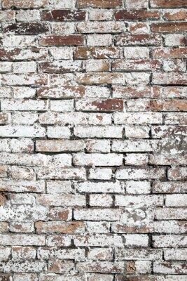 Fotomural Antiguo gran fondo de pared de ladrillo rojo angustiado con pintura blanca
