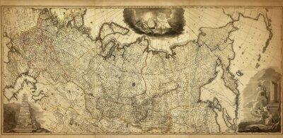 Fotomural Antiguo mapa de la Rusia, impreso en 1786