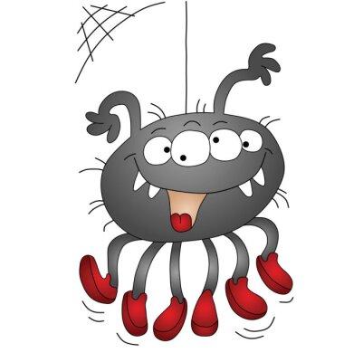 Arana De Halloween De Dibujos Animados Aislado En El Fondo Blanco - Dibujos-araas-halloween