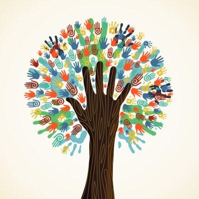 Fotomural Árbol aislado diversidad manos
