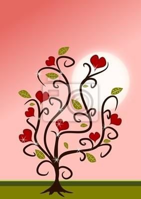 árbol De Amor En Colores Rosa Y Rojo En Los Estilos De Dibujos