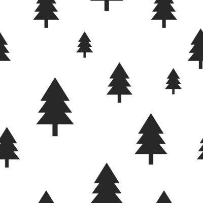 Fotomural Árbol de bosque negro escandinavo en el patrón de vector sin fisuras de color blanco. Diseño sencillo y moderno para tejido textil, papel de embalaje, estampado.