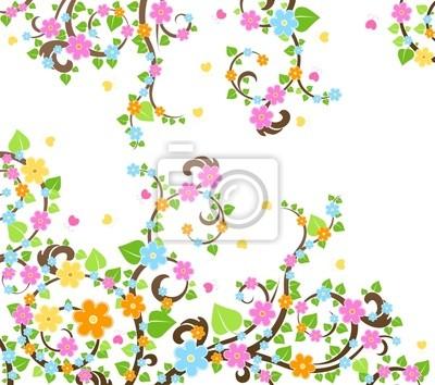 Árbol de flor de cerezo fotomural • fotomurales foliar, cereza ...