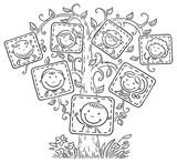 árbol Genealógico En Imágenes Contorno Blanco Y Negro Fotomural