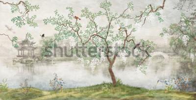 Fotomural Árbol junto al lago. Paisaje brumoso. Árbol con pájaros en el jardín japonés. el mural, papel tapiz para impresión interior