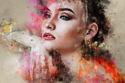 Fotomural Arte colorido bosquejado hermoso retrato de cara de niña abstracta sobre fondo de color en acuarela digital estilo de medios mixtos estilo de moda modelo de palabra