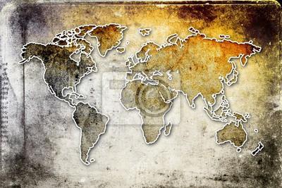Fotomural Arte de diseño de pintura de mapa mundial