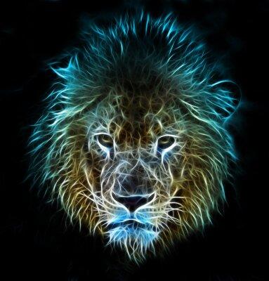 Fotomural Arte digital de la fantasía del fractal de un león en un fondo aislado