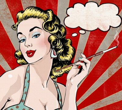 Fotomural Arte pop Mujer con la burbuja del discurso y el cigarrillo.