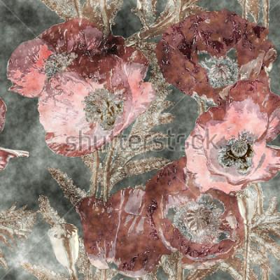 Fotomural arte vintage acuarela colorida sin fisuras patrón floral con amapolas rojo oscuro, hojas y hierbas en el fondo