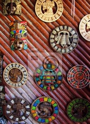 Fotomural Artesanías De Madera Del Calendario Maya Azteca México