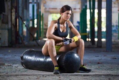 Fotomural asientos chica en bolsa de boxeo