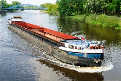 Fotomural Auf der Weser Frachtschiff bei Nienburg