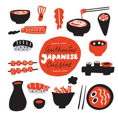 Fotomural Authentic japanese cuisine.Hand drawn food. Doodles. Made in vector.