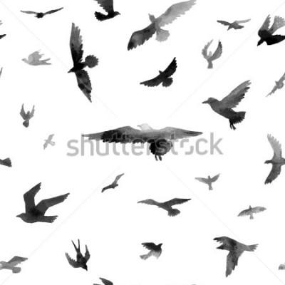 Fotomural Aves. Acuarela de patrones sin fisura. Ilustración de la trama
