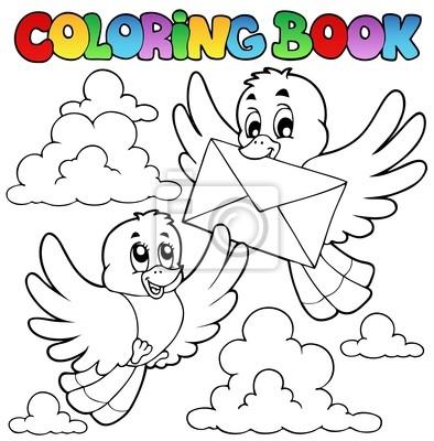 Aves de libros para colorear con el sobre fotomural • fotomurales ...