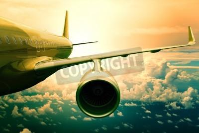 Fotomural avión avión de pasajeros flyin anterior uso scape nube para el transporte de aviones y viajar conocimiento de los negocios