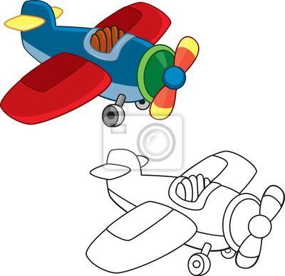 Avión de juguete. libro para colorear. vector fotomural ...