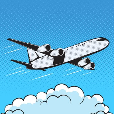 Fotomural Aviones retro estilo pop art aire