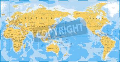 Fotomural Azul amarillo del mapa del mundo, Asia en vector del centro.