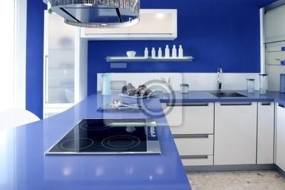 Azul blanco de la cocina moderna casa de diseño de interiores ...