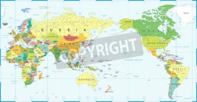 Fotomural Azul blanco del mapa del mundo, Asia en vector del centro.