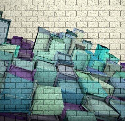 Fotomural Azulejo de la pared de ladrillo de mosaico 3d con el cubo fragmentado patrón