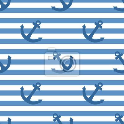 5e4cbc4196f Fotomural Azulejos marinero patrón de vectores con ancla blanca sobre fondo  azul marino rayas