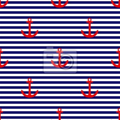8afe67161eb Fotomural Azulejos marinero patrón de vectores con ancla roja sobre azul  marino y blanco rayas de