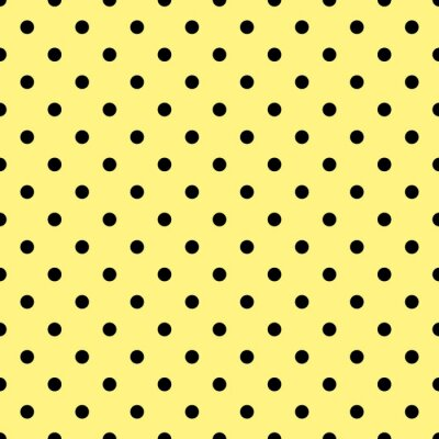 Fotomural Azulejos vector patrón con lunares negros sobre fondo amarillo