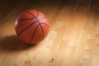 Fotomural Baloncesto en el piso de madera dura de tenis con iluminación puntual