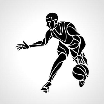 Fotomural Baloncesto jugador silueta abstracta