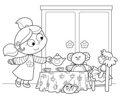 Fotomural Bambina che gioca un servire il te alle bambole