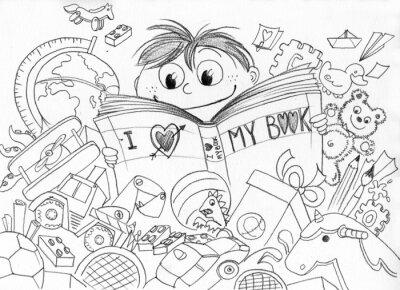 Fotomural Bambino che ama la lettura realizzato una matita