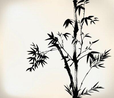 Fotomural bambú pintado tinta