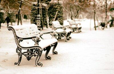 Fotomural Banco en el parque de invierno cubierto de nieve