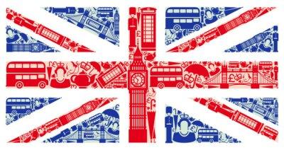 Fotomural Bandera de Inglaterra de los símbolos del Reino Unido y Londres