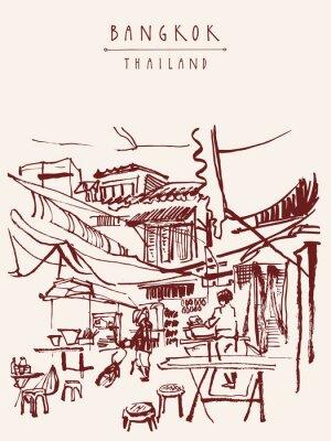 Fotomural Bangkok Tailandia dibujado a mano postal