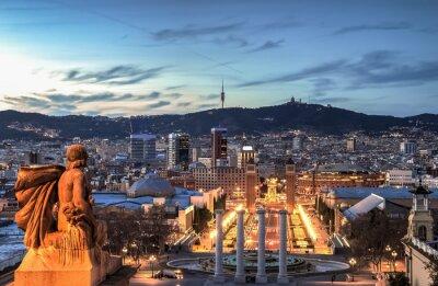 Fotomural Barcelona en la hora azul, España