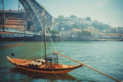 Fotomural Barco de Rabelo, transporte tradicional de vino del puerto en el río Duero.