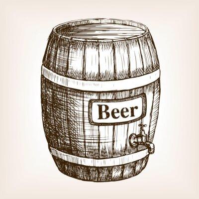 Fotomural Barril, cerveza, boceto, estilo, vector