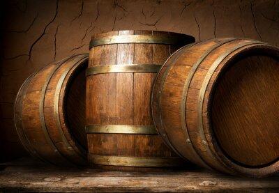 Fotomural Barriles de madera en bodega