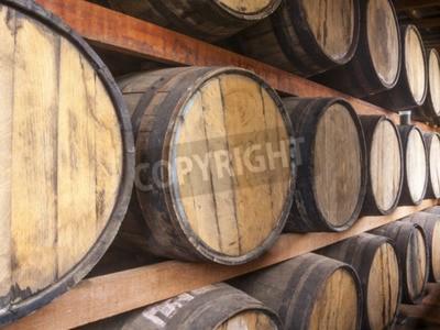 Fotomural Barriles de roble apilados para almacenar bebidas alcohólicas tales como vino, whisky, ron y etc.