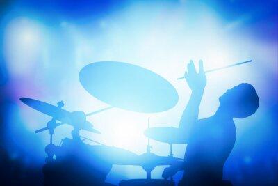 Fotomural Batería jugando en la batería en concierto de música. luces de club