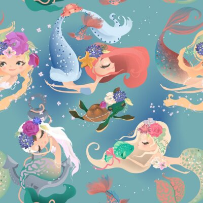 Fotomural Beautiful seamless pattern with cute mermaid girls, princess in floral wreath, bouquets, turtle and fish