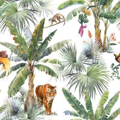 Fotomural Beautiful seamless pattern with watercolor tropical palms and jungle animals tiger, giraffe, leopard. Stock illustration.