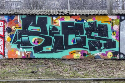 Fotomural Beautiful street art graffiti. Abstract creative drawing fashion