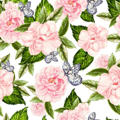 Fotomural Beautiful watercolor seamless pattern with flowers of rose and peony, butterflies.