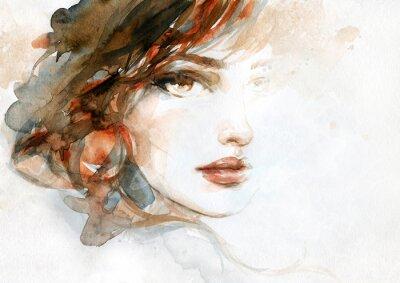 Fotomural beautiful woman. fashion illustration. watercolor painting